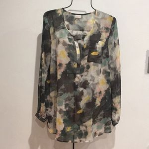 MERONA Watercolor Pullover Long Sleeve Tunic Top